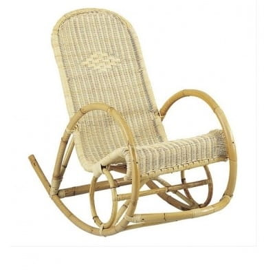 Rocking chair en rotin et moelle de rotin