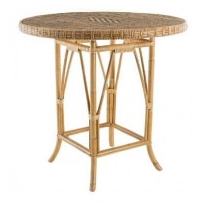 Table ronde en rotin, 80 cm.