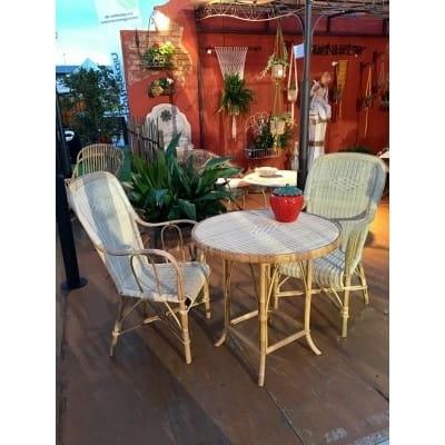 table ronde en rotin diam tre 80 cm. Black Bedroom Furniture Sets. Home Design Ideas