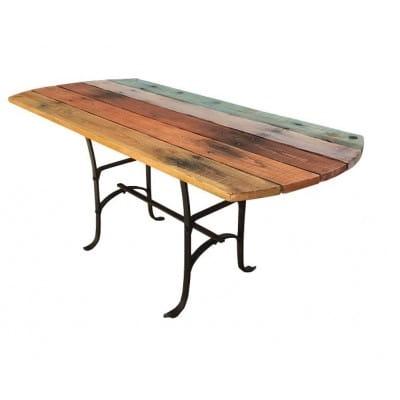 Table de jardin, bois et fer