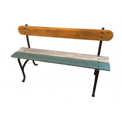 Banc d'extérieur en bois et fer, multicole, 140 cm.