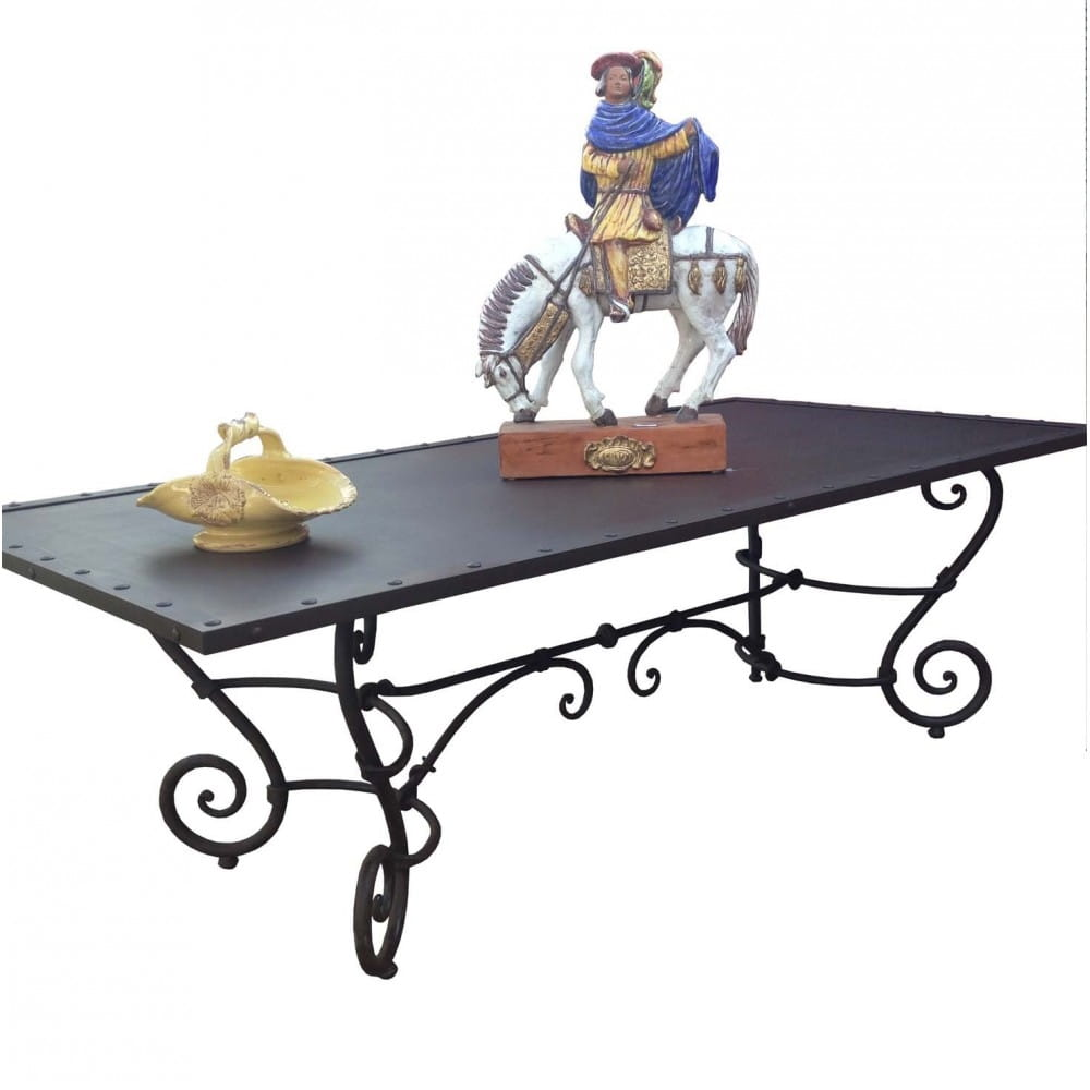 Table tole et fer forgé