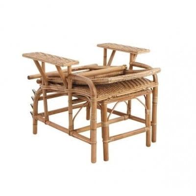 Chaise longue pliable, lame de rotin, 175 cm