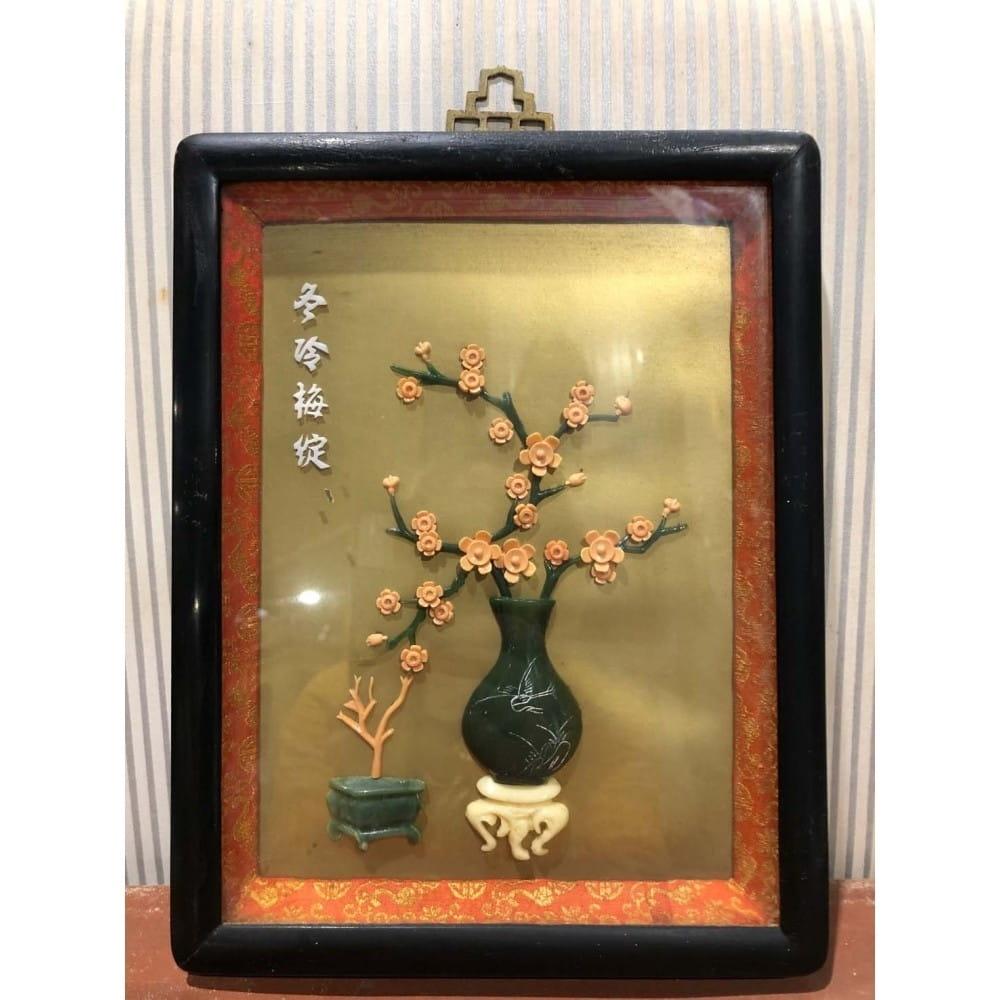 Tableau asiatique, décor imitation jade. 26*21 cm