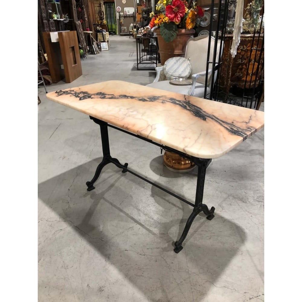 Table bistrot. Fonte et marbre. 120*60 cm.