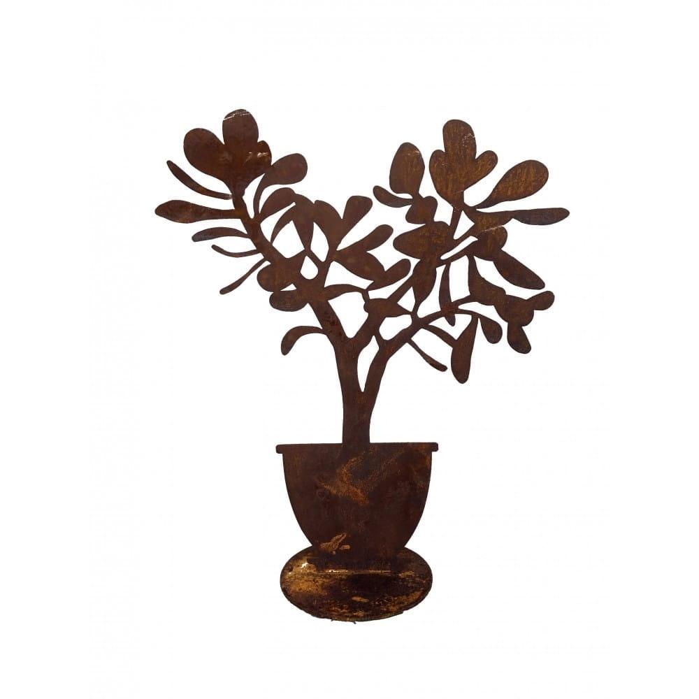 37 cm. Silhouette plante grasse en tôle.