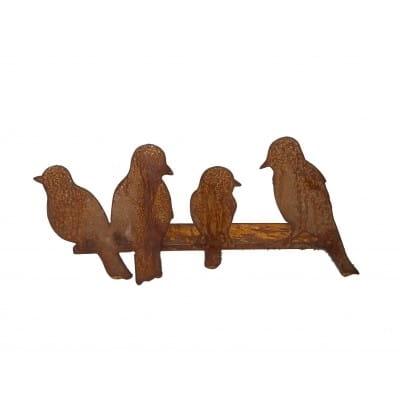 Rebord de fenêtre, groupe oiseaux en tôle. 17 cm